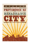 Providence  Rhode Island - Skyline and Sunburst Screenprint Style