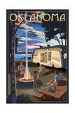 Oklahoma - Retro Camper and Lake