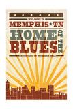 Memphis  Tennessee - Skyline and Sunburst Screenprint Style
