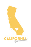 Lake Arrowhead  California - State Outline and Heart (Yellow)