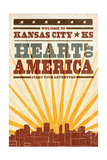 Kansas City  Kansas - Skyline and Sunburst Screenprint Style