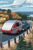 Retro Camper on Road
