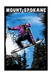 Mount Spokane  Washington - Scratchboard Snowboarder