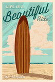 The Hamptons  New York - Life is a Beautiful Ride - Surfboard - Letterpress