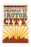 Amarillo  Texas - Skyline and Sunburst Screenprint Style