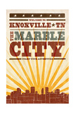 Knoxville  Tennessee - Skyline and Sunburst Screenprint Style