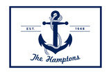 The Hamptons  New York - Blue and White Anchor