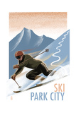 Park City  Utah - Downhill Skier Lithography Style
