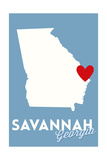Savannah  Georgia - State Outline and Heart
