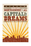 Montgomery  Alabama - Skyline and Sunburst Screenprint Style