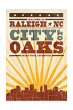 Raleigh  North Carolina - Skyline and Sunburst Screenprint Style