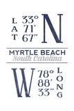 Myrtle Beach  South Carolina - Latitude and Longitude (Blue)