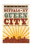 Buffalo  New York - Skyline and Sunburst Screenprint Style