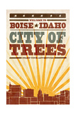 Boise  Idaho - Skyline and Sunburst Screenprint Style