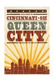 Cincinnati  Ohio - Skyline and Sunburst Screenprint Style