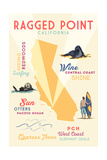 Ragged Point  California - Typography and Icons