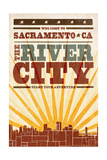 Sacramento  California - Skyline and Sunburst Screenprint Style