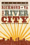 Richmond  Virginia - Skyline and Sunburst Screenprint Style