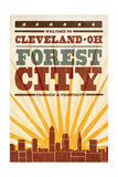 Cleveland  Ohio - Skyline and Sunburst Screenprint Style