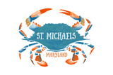 St Michaels  Maryland - Blue Crab - Watercolor