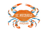 St Michaels  Maryland - Blue Crab - Blue and Orange Watercolor (2)