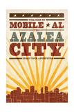 Mobile  Alabama - Skyline and Sunburst Screenprint Style