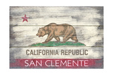 San Clemente  California - California State Flag - Barnwood Painting