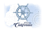 Cambria  California - Ship Wheel - Blue - Coastal Icon