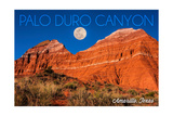 Amarillo  Texas - Palo Duro Canyon - Moon and Red Rock