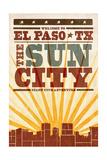 El Paso  Texas - Skyline and Sunburst Screenprint Style