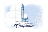 Cambria  California - Lighthouse - Blue - Coastal Icon