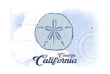 Cambria  California - Sand Dollar - Blue - Coastal Icon