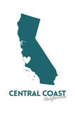 Central Coast  California - State Outline and Heart (Dark Blue)