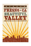 Fresno  California - Skyline and Sunburst Screenprint Style