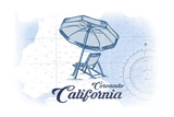 Coronado  California - Beach Chair and Umbrella - Blue - Coastal Icon