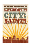 Salt Lake City  Utah - Skyline and Sunburst Screenprint Style