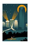Oklahoma City  Oklahoma - Retro Skyline (no text)
