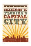 Tallahassee  Florida - Skyline and Sunburst Screenprint Style