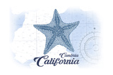Cambria  California - Starfish - Blue - Coastal Icon