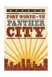 Fort Worth  Texas - Skyline and Sunburst Screenprint Style