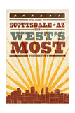 Scottsdale  Arizona - Skyline and Sunburst Screenprint Style