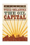 Tulsa  Oklahoma - Skyline and Sunburst Screenprint Style