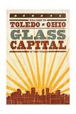 Toledo  Ohio - Skyline and Sunburst Screenprint Style