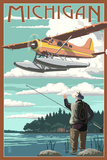 Michigan - Float Plane and Fisherman
