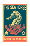 Malibu  California - Seahorse Woodblock (Blue and Pink)