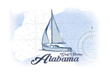 Gulf Shores  Alabama - Sailboat - Blue - Coastal Icon
