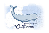 Huntington Beach  California - Whale - Blue - Coastal Icon