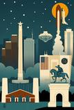 Houston  Texas - Retro Skyline (no text)