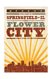 Springfield  Illinois - Skyline and Sunburst Screenprint Style