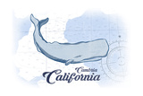 Cambria  California - Whale - Blue - Coastal Icon